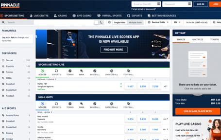 Pinnacle, el sitio de apuestas deportivas Screenshot